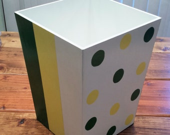 Wastebasket With Stripes And Polka Dots   Green, Yellow And White Trashcan    DREAMATHEME