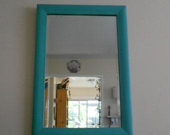 Beautiful Antique Tiger Maple Veneered Wood Frame - Rustic Cottage Sea Glass Green & Original Relic Beveled Mirror Circa 1911