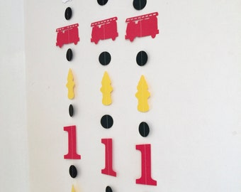 Fire truck Birthday Decorations-  fireman Garland- Firefighter Birthday banner- Firetruck Party Decor-