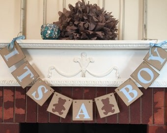 Its A Boy Banner-Teddy Bear Baby Shower Decorations - Baby Announcements - Its A Boy Banner-Baby Shower Banners