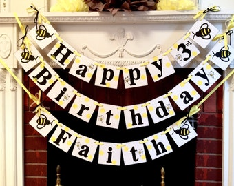 Bee Birthday Decorations / Happy Bee Day Party Decor/ Busy as a Bee Party / 1st 2nd 3rd birthday Decorations / bumble bee birthday