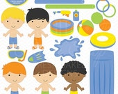75% OFF SALE pool party digital clipart clip art boys kids swimsuit swmming toys summer birthday beach ball tubes water sun - Pool Party Boy