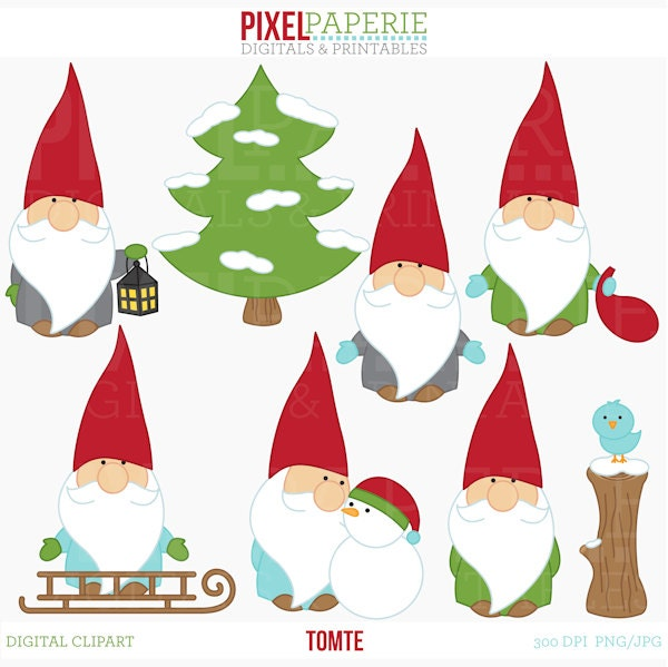 Gnome Clip Art: Tomte Nisse Tomtenisse Santa Gnome Clipart Digital Clip Art