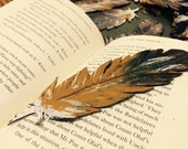 Lucky Feather - hand cut and hand painted - each unique - leather feather bookmark or decoration