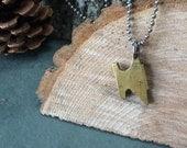 The Maker - brass anvil pendant on stainless steel ball chain