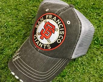 San Francisco Giants Baseball Bling Swarovski Ladies Womens Trucker Hat