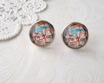 Round Glass New York Map Stud Earrings
