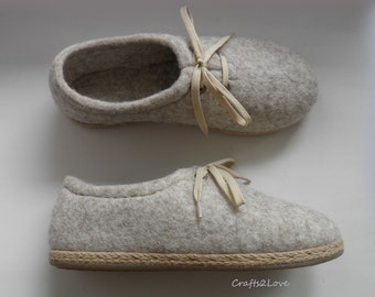 Felted wool shoes in natural oatmeal beige, Outdoor wet felted shoes with rubber soles, Organic eco fashion women shoes, Woolen shoes