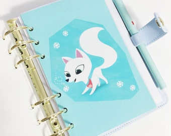 SALE Personal Size Aqua Blue Adorable Arctic Fox Winter Snowflake Animal Laminated Dashboard for Filofax Kikki-k Planner