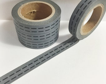 SALE Dark Grey and Black Dotted Line Road Skinny Washi Tape 11 yards 10 meters 10mm