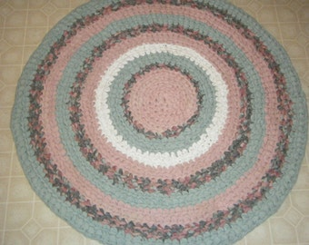 Rose Pink, Mint Green and Grey Area Rug- For Etsy