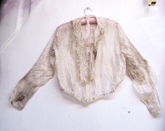 stained tattered silk 1800's blouse