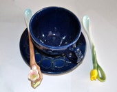Floral Ceramic Spoon Coffee Tea Pottery Spoons Sugar Spices Small Stirring Spoon, Serving Accessories Choice of Tulip or Cherry Blossom