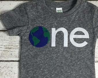 Children's birthday shirt, first birthday shirt, earth day shirt, earth day birthday,  kid's tshirt, Birthday Tee, organic tee