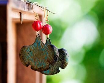 Patina Ginkgo Earrings Red Bead Verdigris Ginkgo Leaf Earrings Christmas Earrings Retro Leaves Rustic Patina Leaves - E117