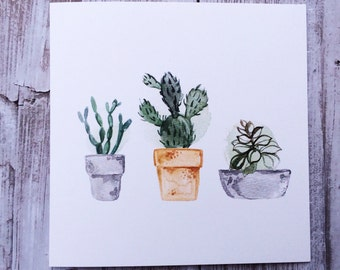Watercolour Succulents Plant Blank Greeting Card