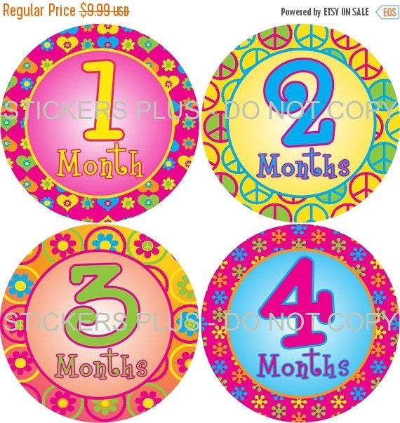 SALE Baby Month Stickers Baby Milestone Stickers Plus FREE Gift Girl Monthly Stickers Peace Sign Flowers PRECUT Bodysuit Baby Age Stickers