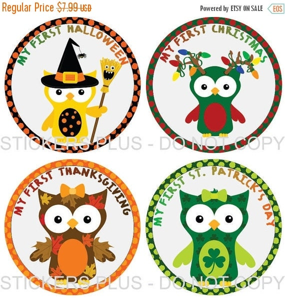SALE Baby Girl First Birthday Holidays Milestone Stickers - Owls Christmas 1st Birthday Halloween Easter Thanksgiving and More