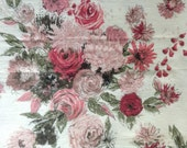 Floral Drapery Fabric- 3 2/3 Yards - Barkcloth