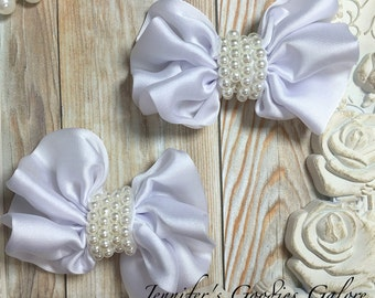 "2PC White Satin bow with pearls - 3"" satin bow - headband supplies - DIY Bow - satin bow appliqué - DIY baby headbands"