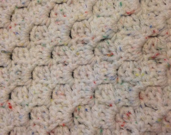 Baby Afghan Soft  White Fleck
