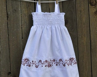 Sale Girls White Sundress, Red Emboidery...Beach weddings, portraits...6M-9M-12M-18m-2t-3T