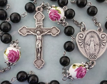 Large Rosary, Dark Olive Green Malaysia Jade, Rose Ceramic Beads, Miraculous Medal, Five Decade, Strong, Stainless Steel, Gemstone Rosary