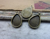 50pcs inner10x14mm Antique Bronze Drop Cameo Cabochon Blank Tray Board Base Setting Charm Pendant