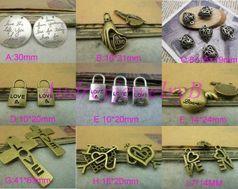 """20pcs Ancient bronze /Antique Silver/Heart-shaped  """"letter """"I Love You""""Cross, angel wings, locks Charm Pendant"""