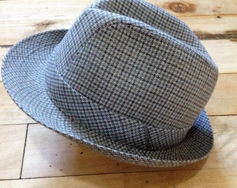 French 1950s Vintage Men Fedora Hat - Chic Plaid  - Made in France - New/Old Stock - M - 6.7/8