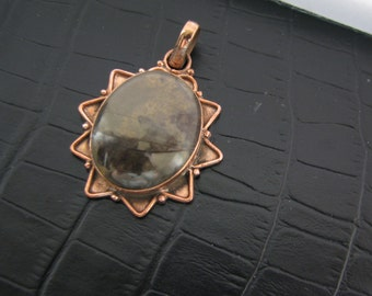 Special Rhyolite Jasper Pendant, Unique Natural Gemstone, Antiqued Copper Setting Pendant, Unique Gift For Him Or Her, Ready To Ship