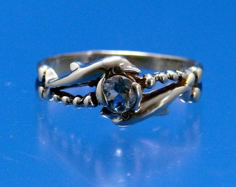 Two Dolphins Ring with Aquamarine 14k
