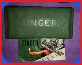 Vintage SINGER Buttonholer Kit Templates Booklet Case Part 160506