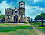 Texas Painting, San Jose Mission, San Antonio, TX, Original Art.