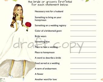 Bridal Shower Scattegories | Instant Download | Custom