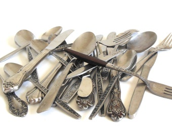 Scrap Silverware Lot Stainless Flatware Bulk for Crafts Spoons Forks Knives (23 pieces)