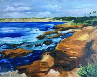 Original oil painting:  California seascape, la jolla, ocean, waves, coastline Impressionism
