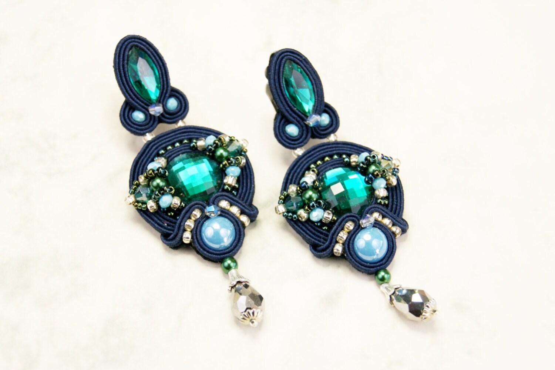 soutache clip on earrings navy blue emerald
