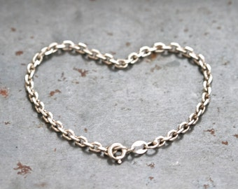 Simple Chain Bracelet - Sterling Silver Bracelet - Made in Italy - Vintage Jewelry
