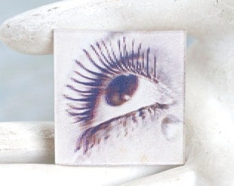 I have My Eye on You - Holographic Moving Eye Badge or Brooch in Purple
