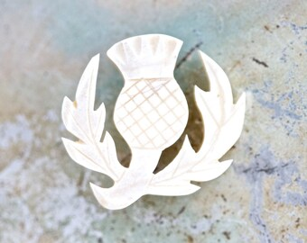 Scottish Thistle Lapel Pin - Carved Bone Vintage Brooch