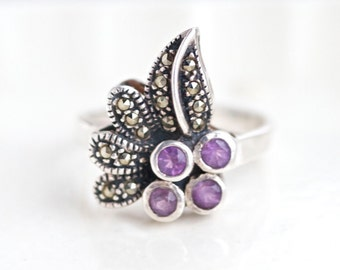 Leaf Ring with Marcasite and Purple Paste - Dark Sterling Silver ring - Size 7.5