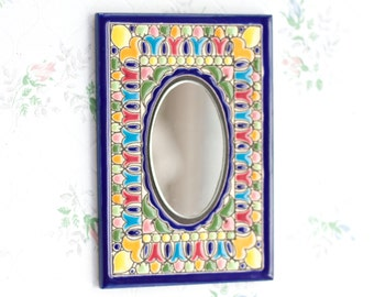 Ornate Small Wall Hanging Mirror - Boho Home Decor - Colorul Tile