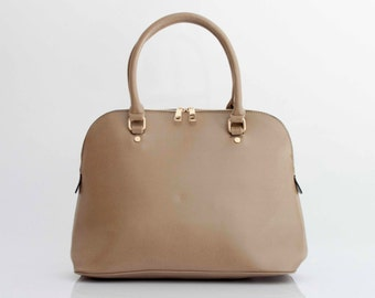 Leather Handbag Shoulder Bag in Vegan Leather Beige Handmade -  the Masek - 30% summer sale TRACBAG30OFF345