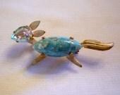 Fox Pin Brooch, Turquoise Fox Figural Brooch, Figural Jewelry