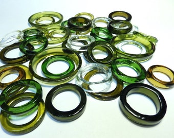 Recycled  Multi Colors Recycled Kiln Polished Bottle Rings 36 Rings (R955)