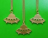SALE Gold Tone UFO Necklace