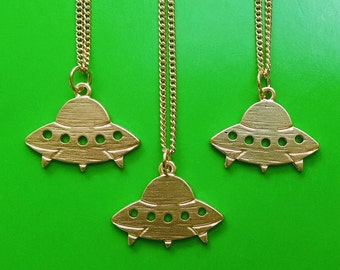 SALE Gold Tone UFO Necklace