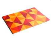 Objectify Grid Red, Yellow and Orange Print Thin Cutting Board