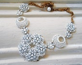 White Enamel Flower Necklace, Assemblage, Bib, Metal Filigree, Scrolling, Lace, Summer, Repurposed Vintage, Upcycled, Recycled